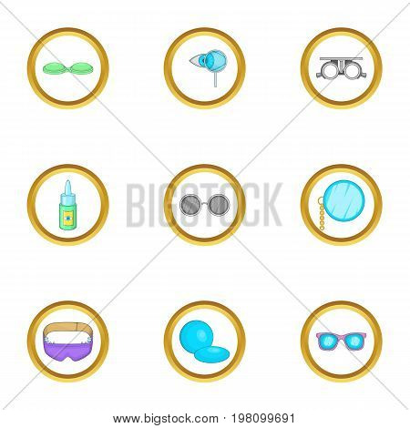 Goggles equipment icons set. Cartoon set of 9 goggles equipment vector icons for web isolated on white background