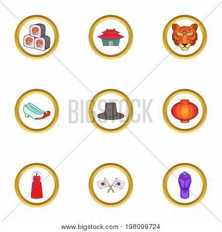South Korea culture icons set. Cartoon set of 9 South Korea culture vector icons for web isolated on white background