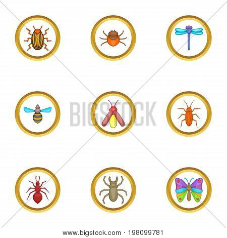 Insect icons set. Cartoon set of 9 insect vector icons for web isolated on white background