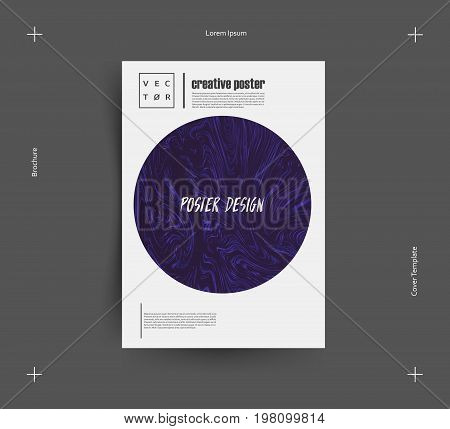 Indigo color paint mixing. Liquid background. It can be used for poster, brochure, invitation, cover book, catalog. Size A4. Vector illustration eps10