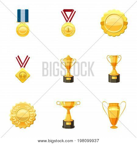 Awards icons set. Cartoon set of 9 awards vector icons for web isolated on white background