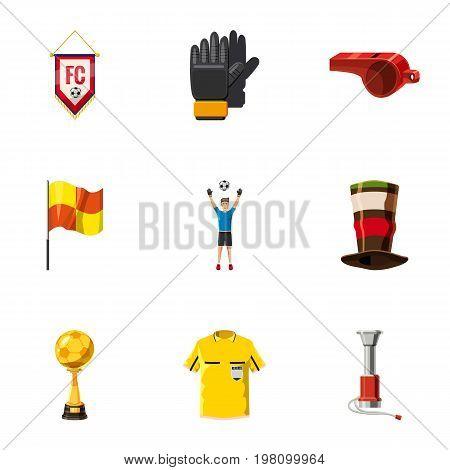 Football tournament icons set. Cartoon set of 9 football tournament vector icons for web isolated on white background