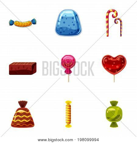 Chocolate candy icons set. Cartoon set of 9 chocolate candy vector icons for web isolated on white background