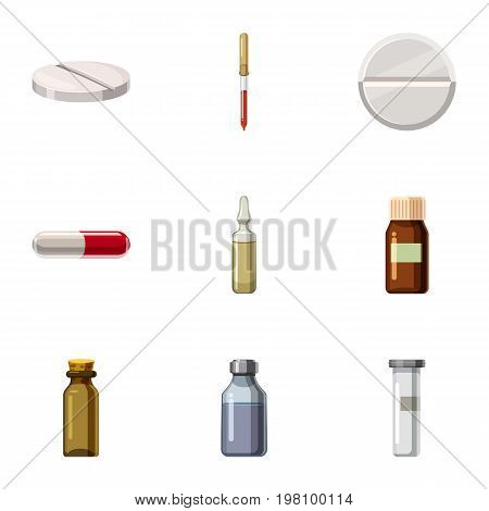 Medicamenticons set. Cartoon set of 9 medicament vector icons for web isolated on white background
