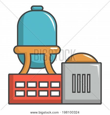 Industrial water tank icon. Cartoon illustration of industrial water tank vector icon for web design