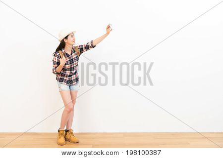 Selfie Woman Use Her Cell Phone To Take Pictures