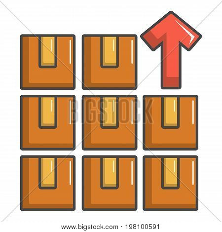 Boxes in warehouse icon. Cartoon illustration of boxes in warehouse vector icon for web design