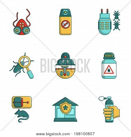Protection from insects icons set. Cartoon set of 9 protection from insects vector icons for web isolated on white background
