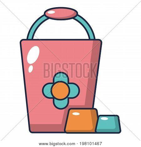 Bucket icon. Cartoon illustration of bucket vector icon for web design