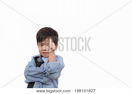Little asian boy happy in business suit for businessman look on white background. Dream job concept. clipping path.