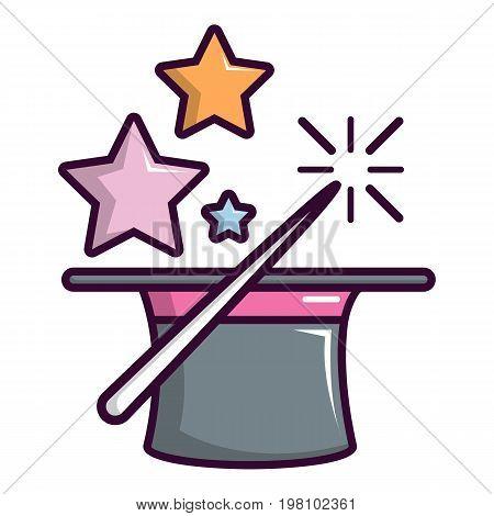 Magic hat with magic wand icon. Cartoon illustration of magic hat with magic wand vector icon for web design