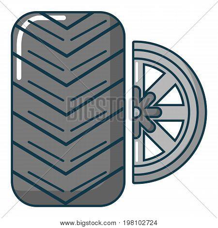 Car wheel tire icon. Cartoon illustration of car wheel tire vector icon for web design