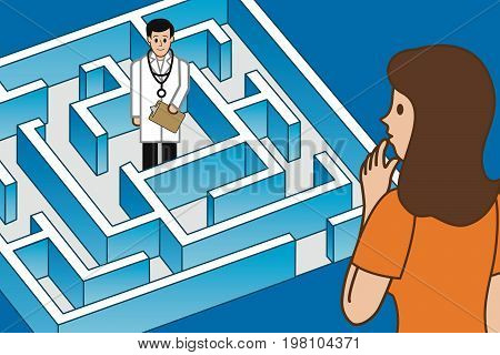A puzzled woman trying to figure out how to get through the maze (to the right doctor)