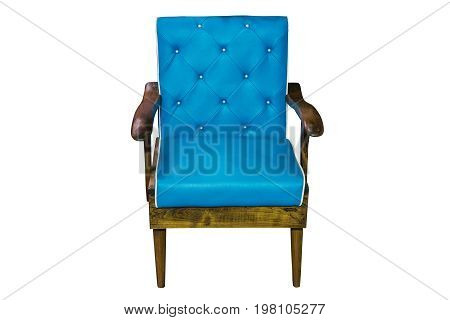 Wooden armchair with leather cushion isolated on white work with clipping path.