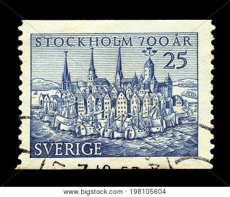 SWEDEN - CIRCA 1953: a stamp printed in the Sweden shows image of medieval Stockholm, 700 anniversary of the city, circa 1953