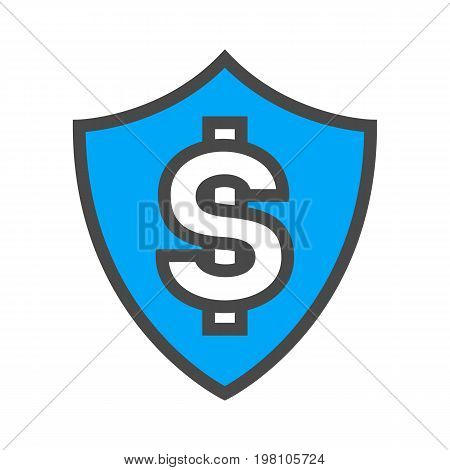 Money security linear style icon with shield. Payment system safety, financial data protection, antivirus software vector illustration