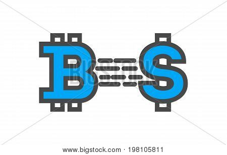 Blockchain conceptual icon with currency signs. Distributed ledger technology, business cloud computing, global payment system vector illustration