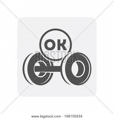 Car diagnostics icon with car suspension element. Auto repair service symbol, automobile center pictogram isolated vector illustration