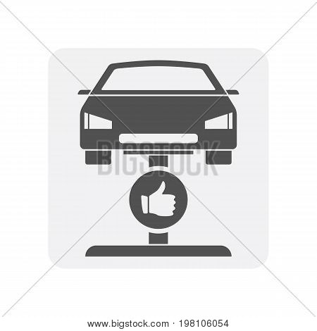 Car diagnostics icon with automobile element. Auto repair service symbol, automotive center pictogram isolated vector illustration