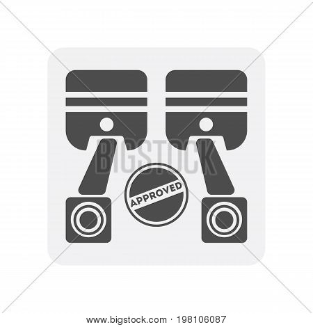 Car diagnostics icon with engine pistons element. Auto repair service symbol, automobile center pictogram isolated vector illustration