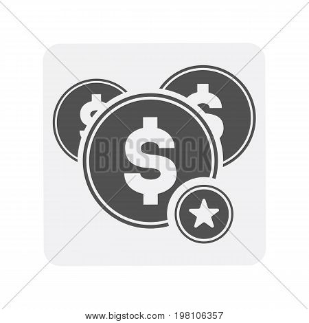 Creditworthiness icon with cash sign. Credit score symbol, financial history, commercial bank pictogram isolated vector illustration