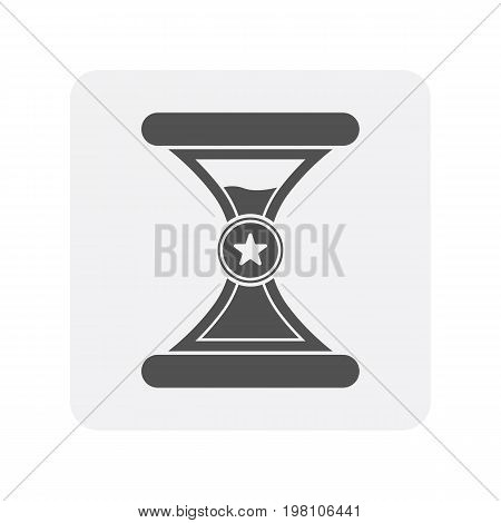 Creditworthiness icon with hourglass sign. Credit score symbol, financial history, commercial bank pictogram isolated vector illustration