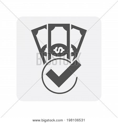 Creditworthiness icon with paper money sign. Credit score symbol, financial history, commercial bank pictogram isolated vector illustration