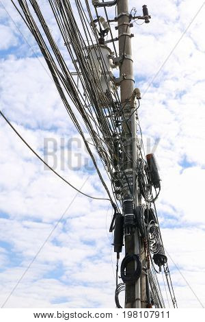 Pole With Tangle Cables And Wire