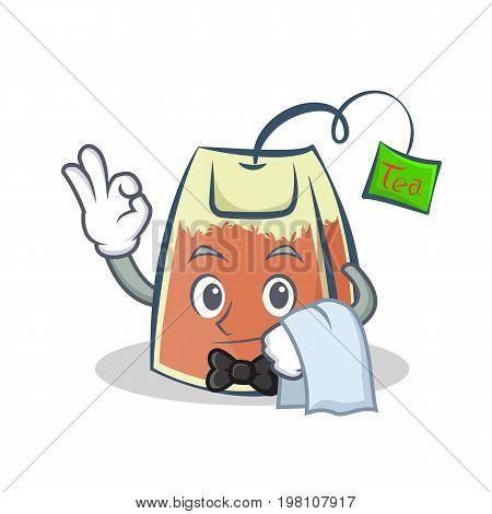 Waiter tea bag character cartoon vector illustration