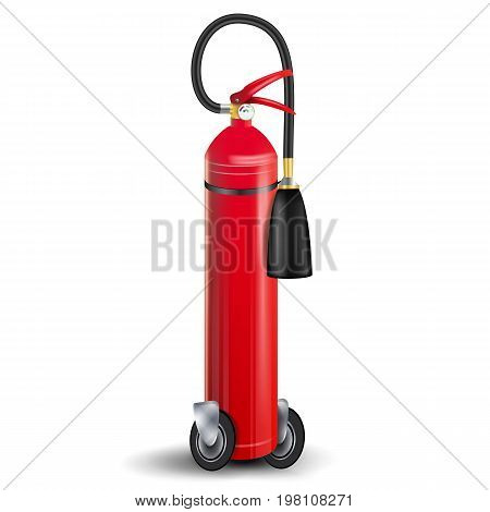 Fire Extinguisher Vector. 3D Realistic Red Fire Extinguisher Sign Isolated Illustration