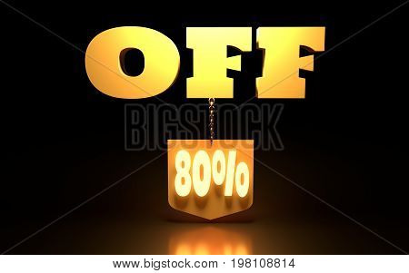 80 Percent Discount Sign. Special Offer Discount Tag. Sale Up to 80 Percent Off. Shield hanging from a chain. 3D rendering
