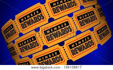Member Rewards Join Club Get Free Premiums Tickets 3d Illustration