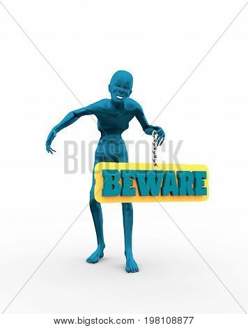 Posing horrified zombie. Beware text on billboard. 3D rendering