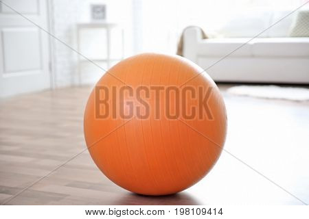 Rubber ball on floor indoors