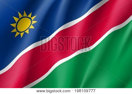 Namibia flag. National patriotic symbol in official country colors. Illustration of Africa state waving flag. Realistic vector icon