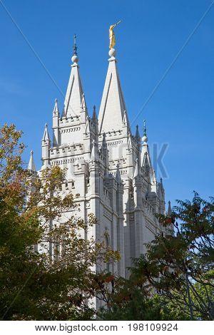 Salt Lake City, Utah, USA - October 8, 2016. Facade of the Salt Lake Temple of The Church of Jesus Christ of Latter-day Saints