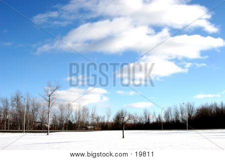 Puffy Clouds Over Snow