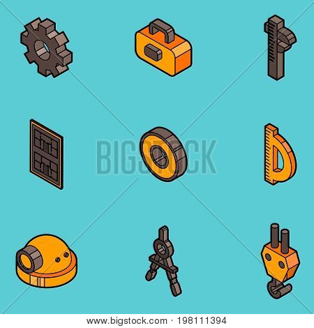 Engineering flat outline icons. Construction Engineer. Vector illustration EPS 10