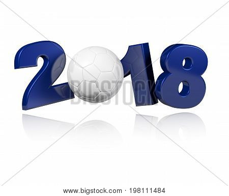 3D illustration of Year 2018 with an Handball ball and a white Background