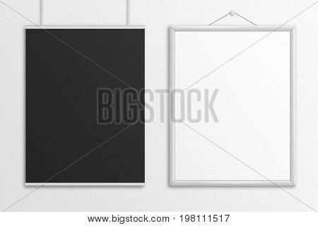 Double 3D illustration black and white US Letter poster mock up hanging.