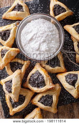 Hamantaschen Cookies Or Hamans Ears Purim Celebration Closeup. Vertical Top View