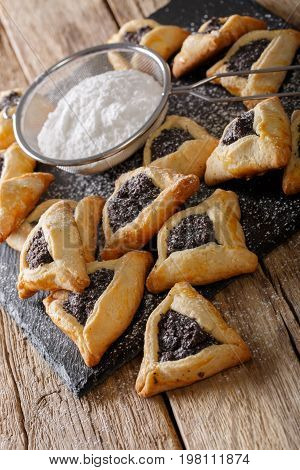 Hamentashen Triangular Cookies With Poppy Seed For Purim Holiday Close-up. Vertical