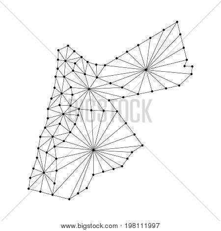 Jordan map of polygonal mosaic lines network rays and dots illustration. Raster copy.