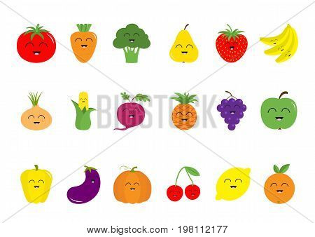 Fruit berry vegetable face icon set Pear strawberry banana pineapple grape apple cherry lemon orange. Pepper tomato carrot broccoli onion sweet corn beet eggplant aubergine pumpkin Vector