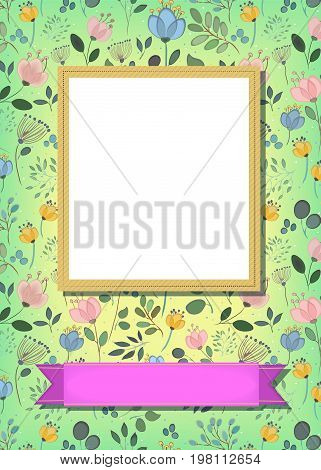 Floral greeting card. Graceful watercolor flowers and plants. Yellow frame for custom photo. Pink banner for custom text. Green background