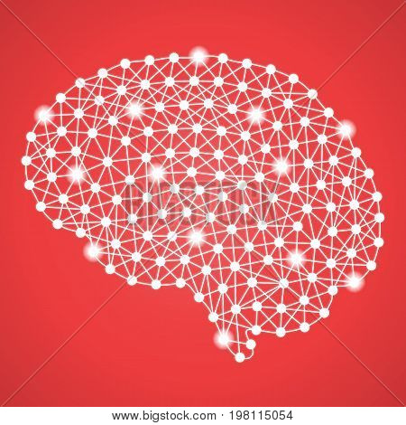 Human Brain Isolated On A Red Background. Vector Illustration.Neurology. Creative Medical Concept