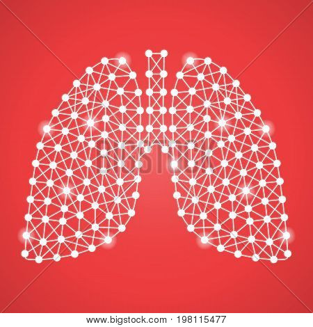 Human Lungs Isolated On A Red Background. Vector Illustration.Pulmonology. Creative Medical Concept
