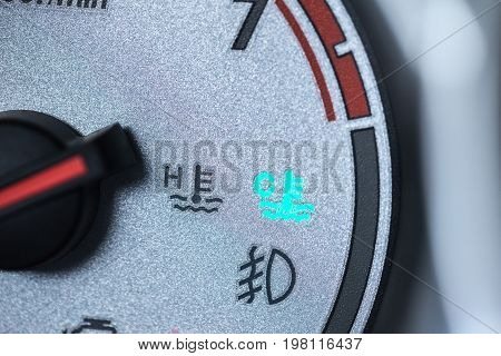 Car Engine Cool Light On Car Dash Board Meter Gauge Driver Warning To Wait Warm Heating Engine
