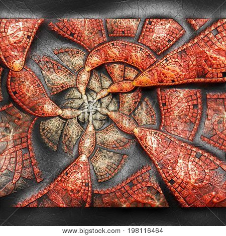 3D rendering of plastic background with embossed spiral mill  fractal on leather