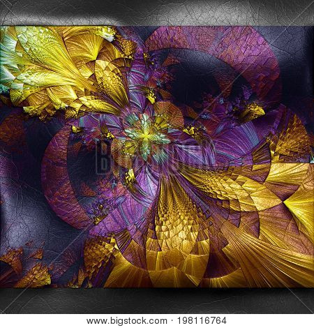3D rendering of plastic background with embossed pixelized flower fractal on leather
